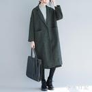 220斤胖女人毛呢外套特大碼風衣遮肚寬鬆顯瘦中長款新款長版大衣 XN8973『小美日記』