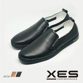 男鞋 XES 男仕休閒 平底懶人鞋 樂福鞋 時尚休閒鞋_經典黑
