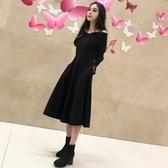 秋裝女黑色連身裙新款氣質長袖復古長裙一字肩吊帶赫本小黑裙 居享優品