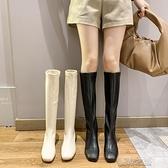 長筒靴女 高筒靴子女騎士靴新款英倫風顯瘦高跟粗跟不過膝長靴 快速出貨