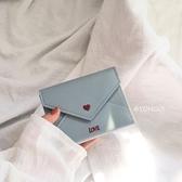 一件79折免運 正韓ins可愛粉色少女心愛心短款多功能按扣式PU零錢包卡包