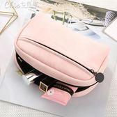 化妝包 韓國隨身化妝品收納包大容量小號便攜簡約可愛防水袋小方包「Chic七色堇」