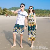 情侶裝夏款沙灘裙海邊度假蜜月長裙泰國必備顯瘦女連身裙『鹿角巷』