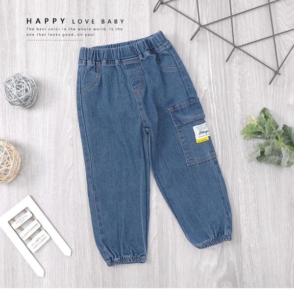 單側大口袋布標工作牛仔褲 長褲 丹寧 藍色 造型 縮口 男童裝 男童長褲 男童牛仔褲