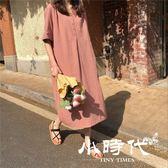 棉麻洋裝-夏季ins超火的寬鬆棉麻連身裙女復古學院風V領短袖長款chic襯衫裙