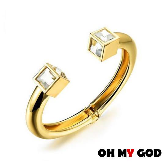 OH MY GOD精緻方鑽銅鍍金手環