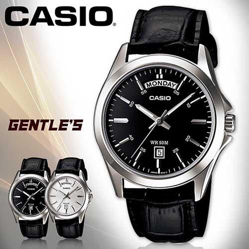 CASIO手錶專賣店 卡西歐 MTP-1370L-1A 男錶 指針 礦物防刮玻璃 防水50米 日期星期 黑面 黑色皮革錶帶