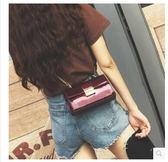 2017新款潮韓版百搭迷你單肩漆皮鎖扣小方包LYH2366【大尺碼女王】