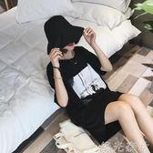 T恤裙 韓版原宿復古印花寬鬆中長款BF風短袖T恤女學生休閒洋裝t潮 綠光森林