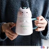 貝貝居 陶瓷杯 喝水杯 豬豬杯 陶瓷水杯 可愛 小豬杯子 馬克杯 帶蓋