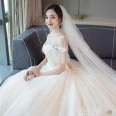 新娘頭紗 配飾3米頭紗淺香檳色花朵影樓攝影拍照婚紗配飾頭紗【美物居家館】