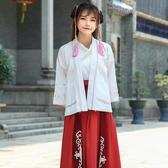 日常改良漢服女款交領上衣長袖對襟褙子外套古風高腰春秋襦裙套裝