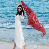 絲巾 民族風長款海邊披肩紗巾度假沙灘巾復古流蘇兩用巾絲巾女 父親節下殺