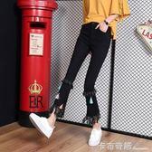 牛仔褲女春秋新款ulzzang韓版學生顯瘦垂感高腰九分微喇叭褲 卡布奇諾