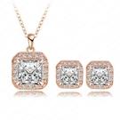 玫瑰金純銀飾品組合含項鍊+耳環-方形唯美生日情人節禮物女配件2色73bi14【時尚巴黎】