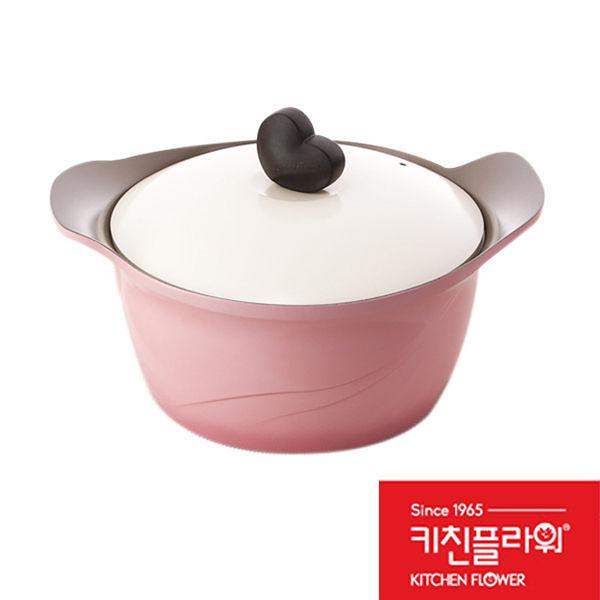 【限宅配】韓國 Kitchen Flower 24cm 愛心玫瑰雙耳燉湯鍋 愛心玫瑰鍋 (購潮8)
