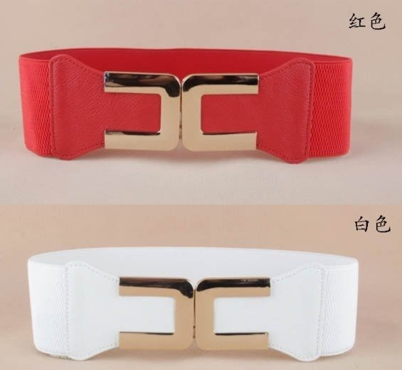 ★草魚妹★H342簡潔鬆緊塑身百搭裝飾寬腰封腰帶皮帶,售價190元