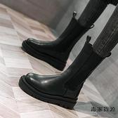 中筒厚底切爾西靴女英倫風帥氣煙筒短靴馬丁靴單靴子【毒家貨源】