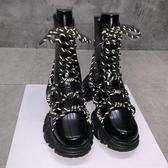 同款黑色漆皮馬丁靴女反光鞋帶休閒短靴龍齒增高厚底中筒靴子