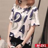 中大尺碼 塗鴉字母印花短袖T恤 M-2XL O-ker歐珂兒 16611-2-C