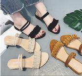 女涼拖鞋夏季女中跟軟妹粗跟學生百搭女鞋子 XY14【棉花糖伊人】
