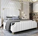 【千億家居】高貴白真皮雙人床架(歐規五尺/六尺)LK102/五尺雙人床架/臥室家具/六尺床組