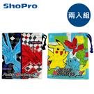 【日本正版】兩入組 精靈寶可夢XY 棉質束口袋 日本製 束口袋 收納袋 寶可夢 神奇寶貝 SKATER - 258367