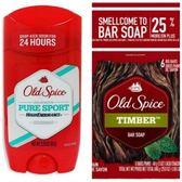 【美國原裝進口】Old Spice 運動體香膏(63g)*3+香水皂-木香*6塊