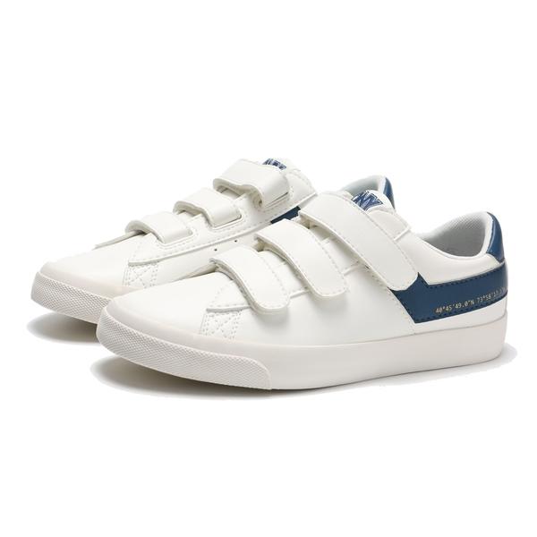 PONY 休閒鞋 白 深藍LOGO 魔鬼氈 板鞋 皮革 輕量 百搭 女 (布魯克林) 83W1TS04DB