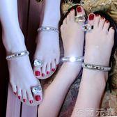 平底涼鞋女水鑽夾趾簡約沙灘鞋平跟套趾涼拖鞋夏新款百搭夾腳 至簡元素