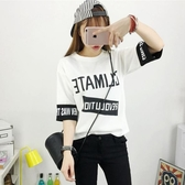 韓版夏天百搭七分中袖上衣服大童寬鬆短袖t恤初中學生半袖體桖女『潮流世家』