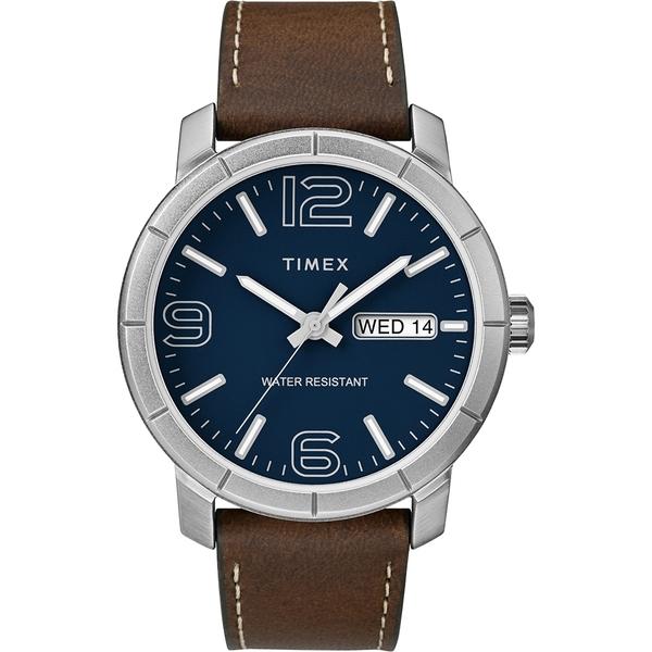 【TIMEX】天美時 風格系列 經典潮流大數字手錶(藍/深咖啡色TXTW2R64200)