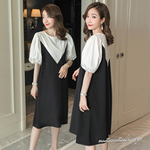 孕婦裝 MIMI別走【P521229】經典復古泡泡袖 拚色顯瘦連身裙 孕婦裙 洋裝
