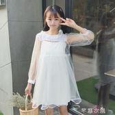 夏季新款女裝韓版學生網紗蓬蓬裙 打底吊帶短袖洋裝兩件套      芊惠衣屋