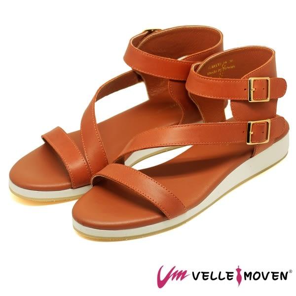 涼鞋系列 VelleMoven 羅馬鞋 舒適軟墊 便利魔鬼氈 涼拖鞋 _橘色