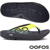 OOFOS M1001-YEL黑/黃 男減壓拖鞋 輕量舒壓健康鞋/彈力涼鞋/海灘拖鞋/懶人夾腳鞋/人字拖鞋