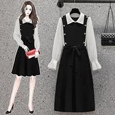 洋裝針織裙中大尺碼M-4XL新款設計感顯瘦撞色拼接長袖針織連身裙4F053-2586.胖胖唯依