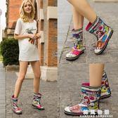 時尚雨鞋女中筒雨靴女短筒女士水鞋可愛套鞋防滑膠鞋韓國成人夏季  韓風物語
