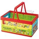 〔小禮堂〕Sanrio 大集合 塑膠折疊收納籃《紅黃.巴士.野餐》置物籃.提籃 4973307-41365