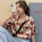 短袖碎花襯衫女設計感小眾韓版溫柔風復古港味很仙的洋氣上衣外套 小宅女