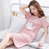 新款女士睡裙夏季純棉大碼中長款性感可愛短袖薄款夏天睡衣家居服 曼莎時尚
