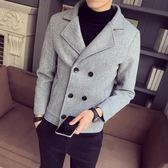 大衣外套 男士風衣新款短款韓版潮流雙排扣外套毛呢大衣 萬客居