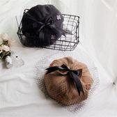 韓版英倫帽子女秋冬季復古雙層蝴蝶結網紗八角蓓蕾貝雷帽畫家帽【小梨雜貨鋪】