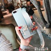 腕帶碎花蘋果x手機殼iphone7plus保護套女款硅膠掛繩8支架6s防摔 魔方