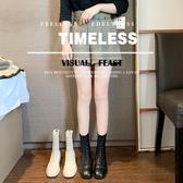 韓版方頭低跟方跟繫帶後拉錬馬丁靴女短靴ins網紅瘦瘦靴彈力靴子 伊衫風尚
