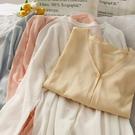 空調衫 夏季薄款微透長袖針織防曬衫女新款純色百搭V領寬鬆空調衫潮-Ballet朵朵
