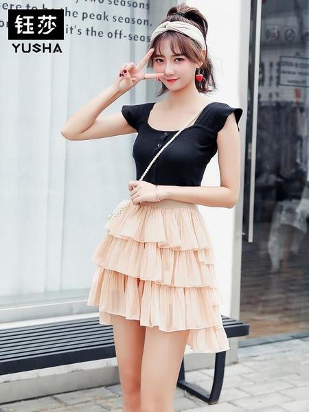 半身裙 雪紡蛋糕裙短裙女夏2020新款高腰a字仙女裙
