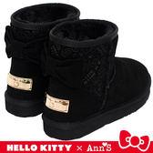 HELLO KITTY X Ann'S 大蝴蝶結真皮雪靴禮盒-黑