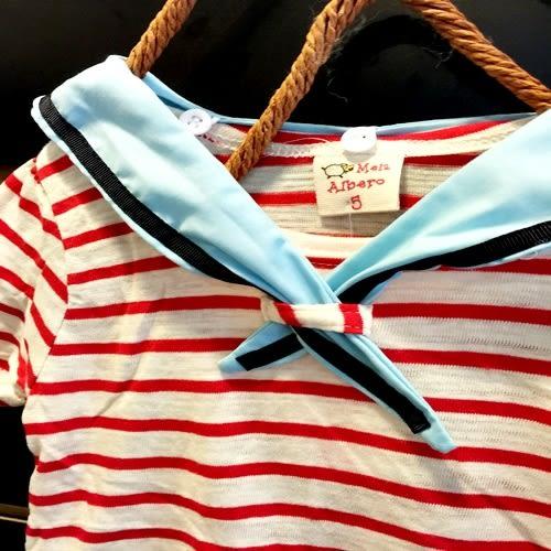 ☆棒棒糖童裝☆夏女童紅條紋海軍領洋裝 5-17