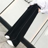 【年終大促】明線高腰闊腿褲女寬鬆顯瘦休閒系帶直筒長褲
